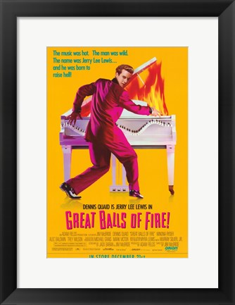 Framed Great Balls of Fire Piano Fire Print
