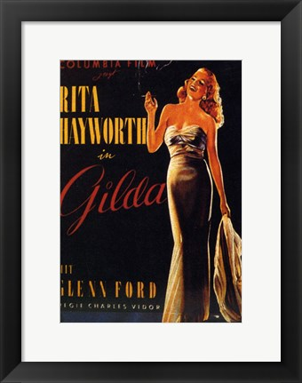 Framed Gilda Rita Hayworth Smoking Print