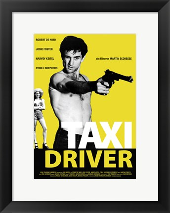Framed Taxi Driver Black and Yellow Print
