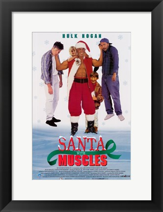 Framed Santa With Muscles Print