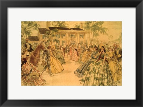 Framed Gone With The Wind Drawing Print