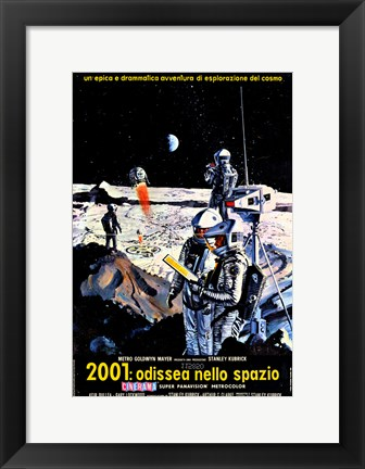 Framed 2001: A Space Odyssey Moon Landing Print