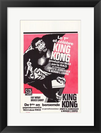 Framed King Kong Black and White Red Background Print