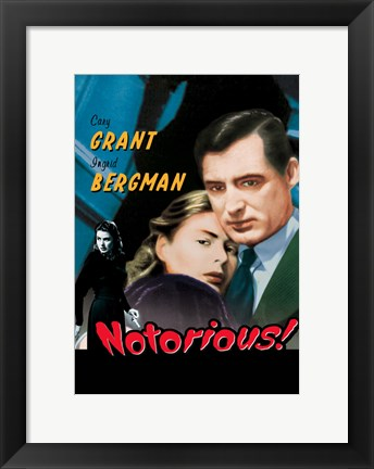Framed Notorious Grant and Bergman Pop Print