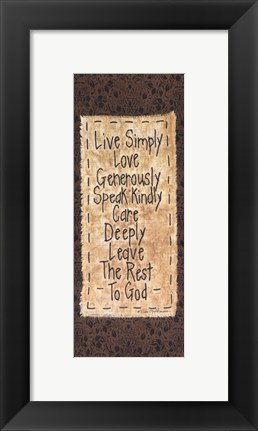 Framed Live Simply Print