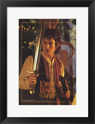 Framed Lord of the Rings: Fellowship of the Ring Frodo with Sword Print