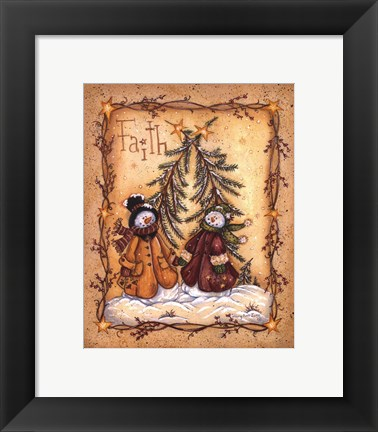 Framed Snow Folk Faith Print