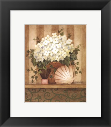Framed Hydrangea and Shell Print