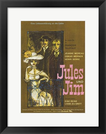 Framed Jules and Jim Moreau Werner Serre Print