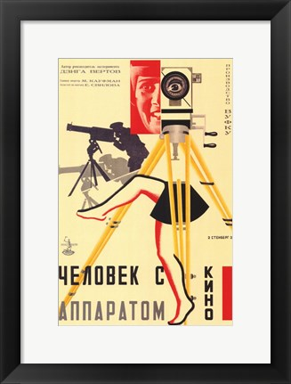 Framed Russian Camera with legs Print