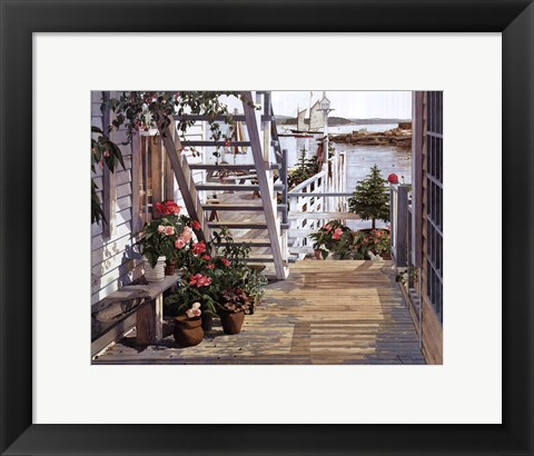 Framed Blue Stair and Begonias, 1987 Print