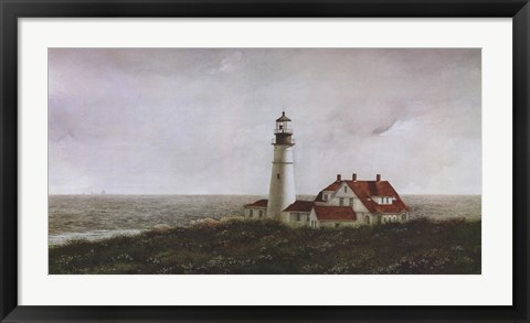 Framed Above Portland Light Print