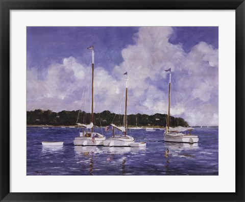 Framed Moored Cat Boats Print