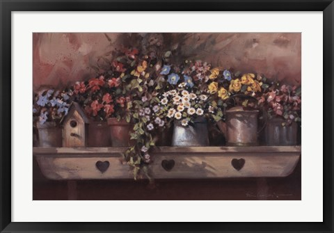 Framed Flowers on Shelf Print