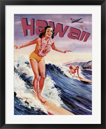 Framed Fly to Hawaii Print