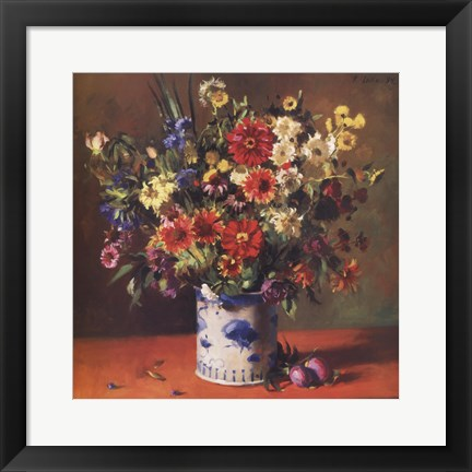 Framed Chinese Florals with Plums Print
