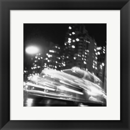 Framed Taxi, New York Night, c.1947 Print