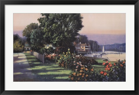 Framed Harbor Roses Southport Print