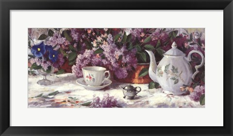 Framed Teapot and Lilacs Print
