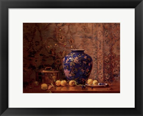 Framed Oriental Vase with Crab Apples Print