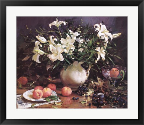 Framed Lilies and Peaches Print