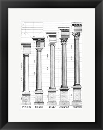 Framed Five Orders of Architecture Print