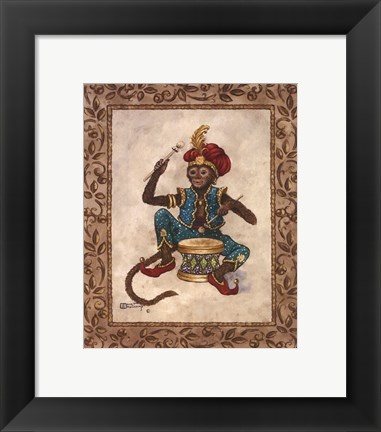 Framed Monkey With Drum Print
