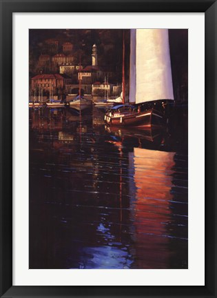 Framed Lake Como Sunset Sail Print