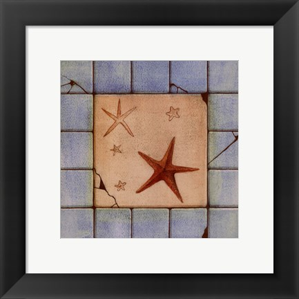 Framed Capital decor - Blue Tile II Print