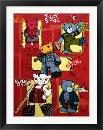 Framed Teddy Scares Print