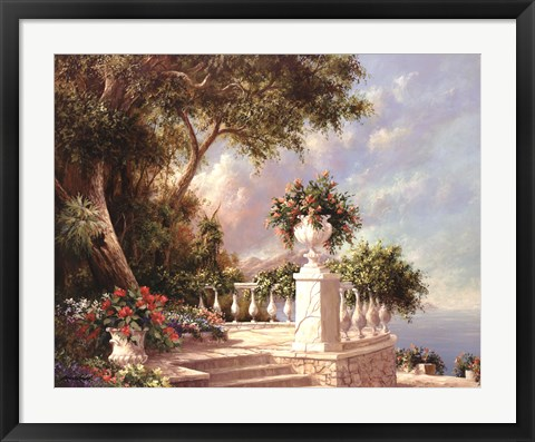 Framed Balcony At Lake Como Print