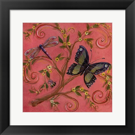 Framed Butterfly Pink Print