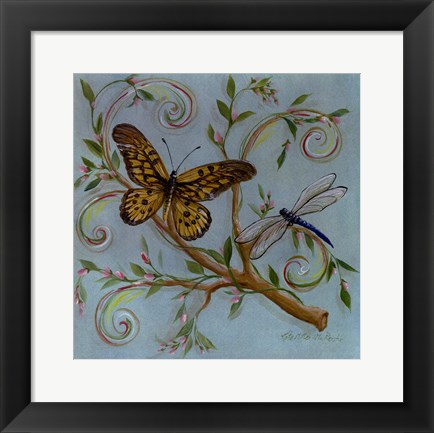 Framed Butterfly Turquoise Print