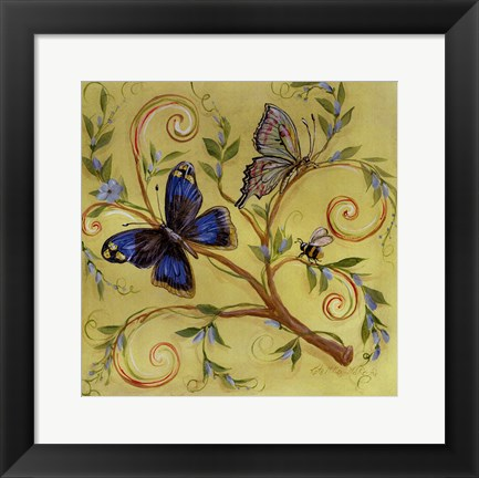 Framed Butterfly Yellow Print