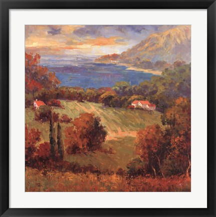 Framed Tuscan Hill View Print