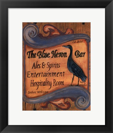 Framed Blue Heron Bar Print