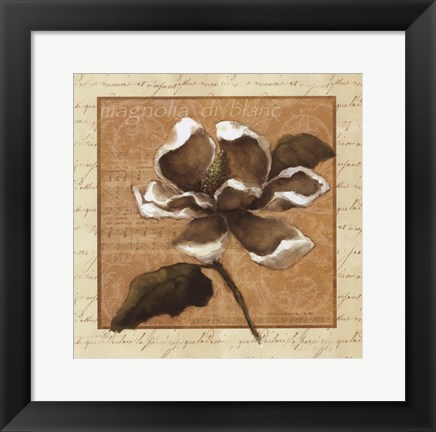 Framed White Magnolia Square Print