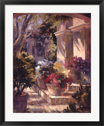 Framed Flowered Courtyard Print