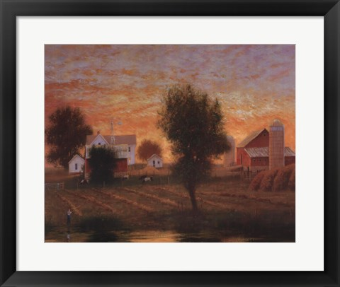 Framed Midwest Farm Pond Print