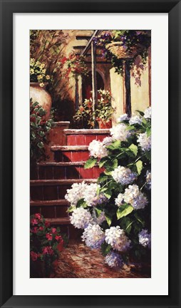 Framed Hydrangea Steps Right Print