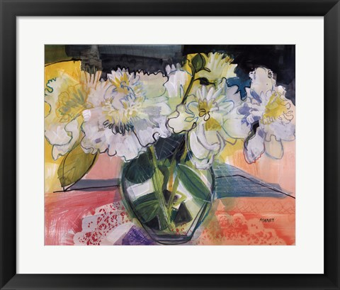 Framed White Bouquet on Pink Table Print