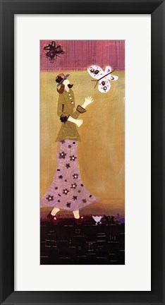 Framed Woman With Butterflies II Print