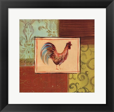 Framed Patchwork Rooster III Print