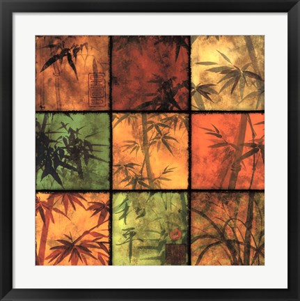 Framed Bamboo Patchwork II Print