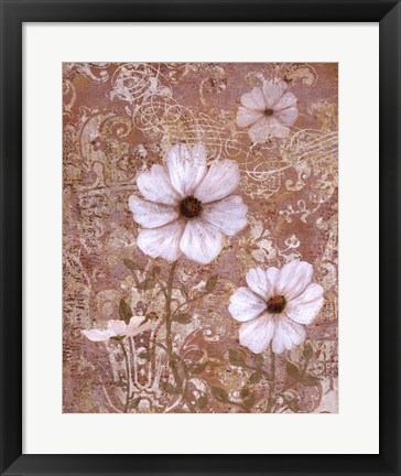 Framed Lace Flowers I Print