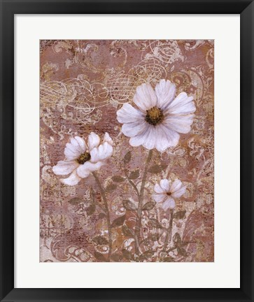 Framed Lace Flowers II Print