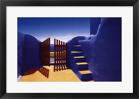 Framed Gate with Yellow Steps Print
