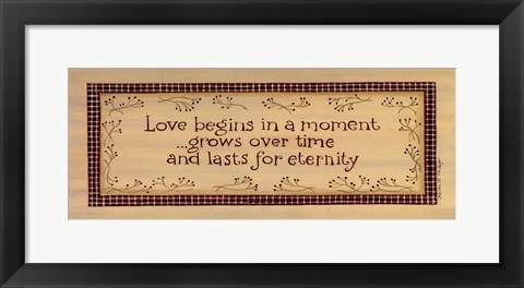 Framed Love Begins Print