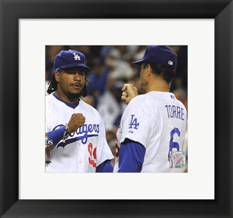 Framed Manny Ramirez & Joe Torre Broxton Celebrate Game 4 of the 2008 NLDS Print