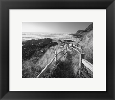 Framed Pathway To Beach Print